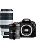 Canon EOS 90D + EF 17-40mm f/4 L USM + EF 100-400mm f/4.5-5.6L IS II USM -järjestelmäkamera
