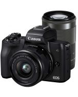 Canon EOS M50 + 15-45mm IS STM + 55-200mm IS STM -järjestelmäkamera, musta
