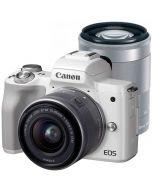 Canon EOS M50 + 15-45mm IS STM + 55-200mm IS STM -järjestelmäkamera, valkoinen