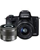 Canon EOS M50 + 15-45mm f/3.5-6.3 IS STM + 28mm f/3.5 IS STM Macro -järjestelmäkamera, musta