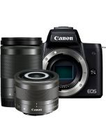 Canon EOS M50 + 18-150mm f/3.5-6.3 IS STM + 28mm f/3.5 IS STM Macro -järjestelmäkamera, musta