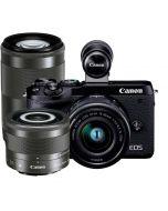 Canon EOS M6 Mark II + 15-45mm IS STM + 28mm IS STM Macro + 55-200mm IS STM -järjestelmäkamera