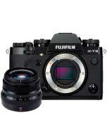 Fujifilm X-T3 + XF 35mm f/2 R WR -järjestelmäkamera, musta
