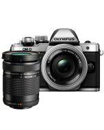 Olympus OM-D E-M10 Mark II + 14-42mm EZ + 40-150mm -järjestelmäkamera, hopea