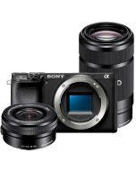 Sony A6400 + 16-50mm f/3.5-5.6 PZ OSS + 55-210mm f/4.5-6.3 OSS -järjestelmäkamera, musta