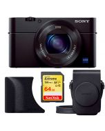 Sony DSC-RX100 Mark III -kamera + AG-R2 -kahva + LCS-RXG -laukku + SanDisk Extreme SDXC V30 64GB 150MB/s -muistikortti
